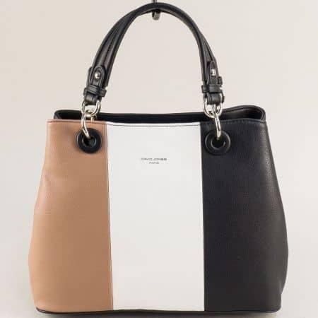 Дамска чанта в черно, бяло и бежово- DAVID JONES cm5618ach