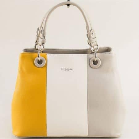 Дамска чанта в бежово, бяло и жълто- DAVID JONES cm5618aj