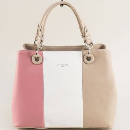 Дамска чанта- DAVID JONES в розово, бяло и бежово cm5618arz