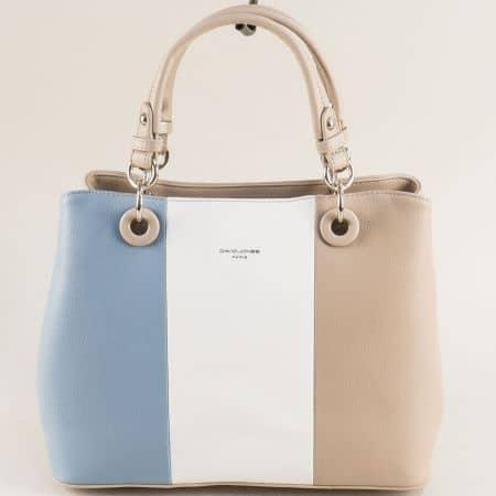Дамска чанта- DAVID JONES в светло синьо, бяло и бежово cm5618as