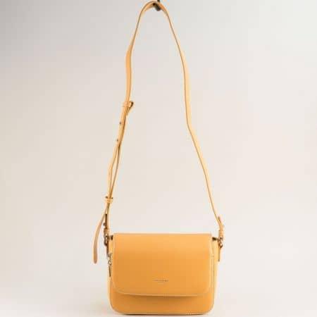 Жълта дамска чанта- DAVID JONES с дълга дръжка cm5619aj