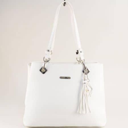 Бяла дамска чанта с пет прегради- DAVID JONES cm5621ab
