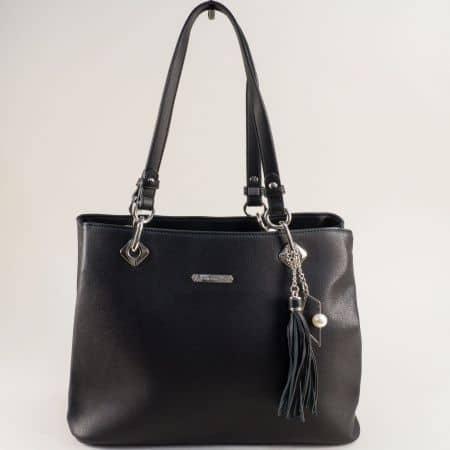 Черна дамска чанта- DAVID JONES с пискюл cm5621ach