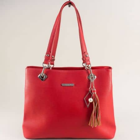 Червена дамска чанта- DAVID JONES с пискюл cm5621achv