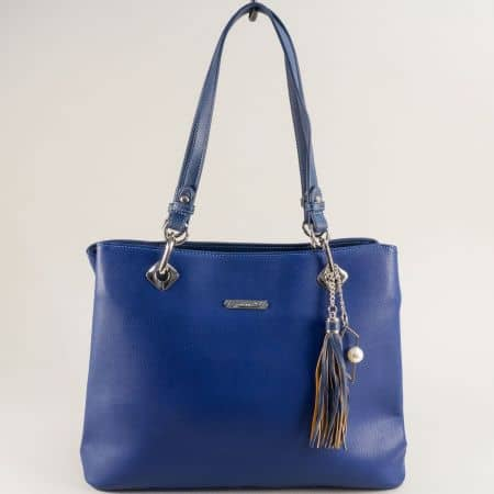Синя дамска чанта с пет прегради- DAVID JONES cm5621as
