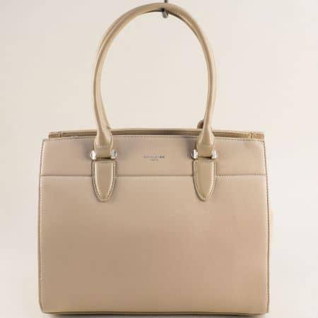 Бежова дамска чанта- DAVID JONES с три прегради cm5626bj