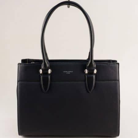 Черна дамска чанта с три прегради- DAVID JONES cm5626ch