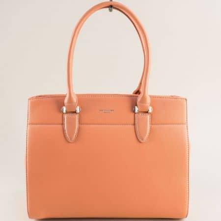 Коралово розова дамска чанта с три прегради- DAVID JONES cm5626rz