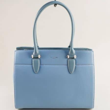 Светло синя дамска чанта с три прегради- DAVID JONES cm5626s