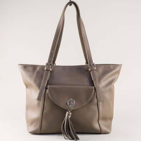 Кафява дамска чанта с две регулируеми дръжки ch5637-6k