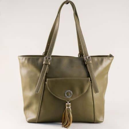 Зелена дамска чанта с две регулируеми дръжки ch5637-6z