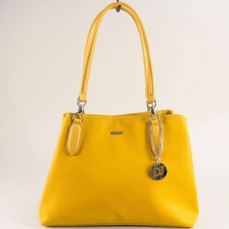 Жълта дамска чанта с аксесоар- DAVID JONES cm5644j
