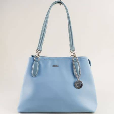 Светло синя дамска чанта с аксесоар- DAVID JONES cm5644s