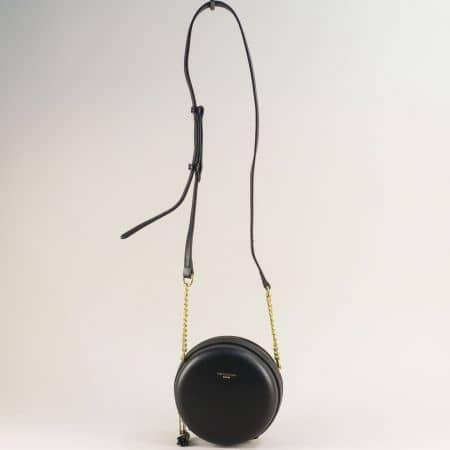 Малка дамска чанта с дълга дръжка в черен цвят  cm5658ch