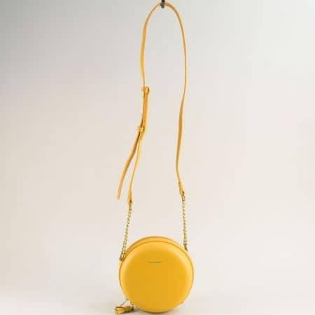 Малка дамска чанта с дълга дръжка в жълто- DAVID JONES cm5658j