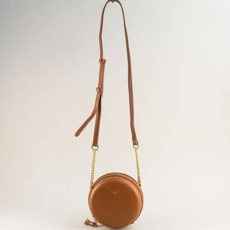 Малка дамска чанта с дълга дръжка в кафяво- DAVID JONES cm5658k