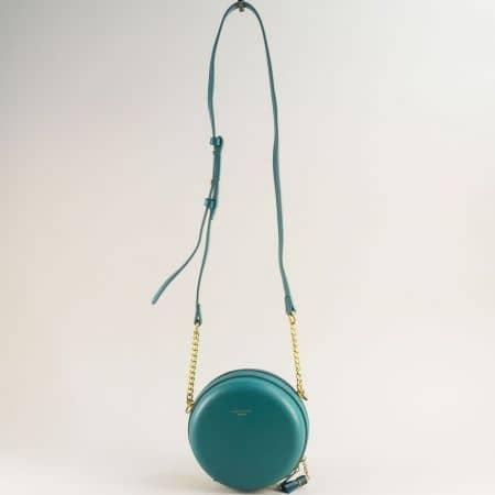Тюркоазено зелена дамска чанта с твърда структура cm5658z