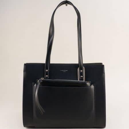 Черна дамска чанта- DAVID JONES с твърда структура cm5677ch