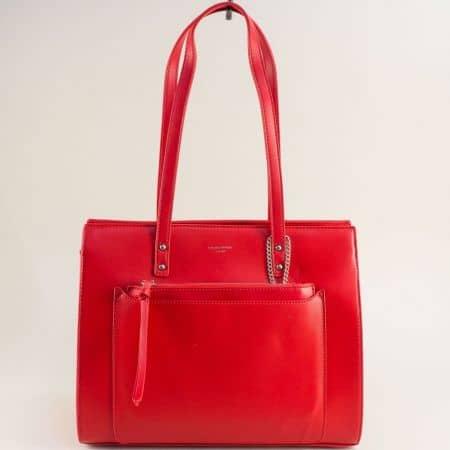 Червена дамска чанта с органайзер- DAVID JONES cm5677chv