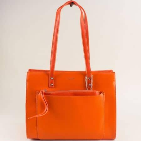 Оранжева дамска чанта с органайзер- DAVID JONES cm5677o