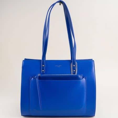Синьо дамска чанта- DAVID JONES с твърда структура cm5677s