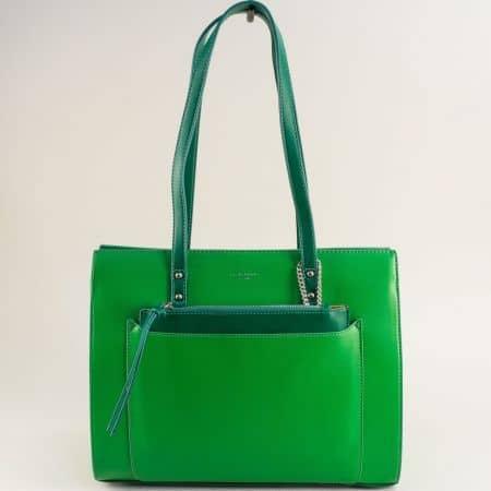 Зелена дамска чанта с органайзер- DAVID JONES cm5677z