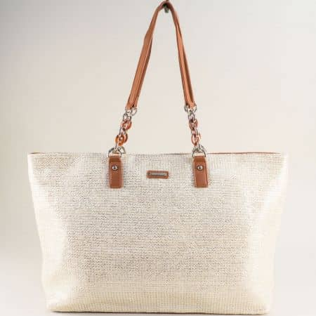 Бяла дамска чанта с блясък- DAVID JONES cm5683ab