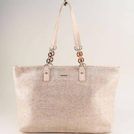 Бежова дамска чанта с блясък- DAVID JONES cm5683abj