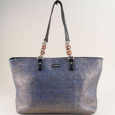 Синя дамска чанта с блясък- DAVID JONES cm5683as