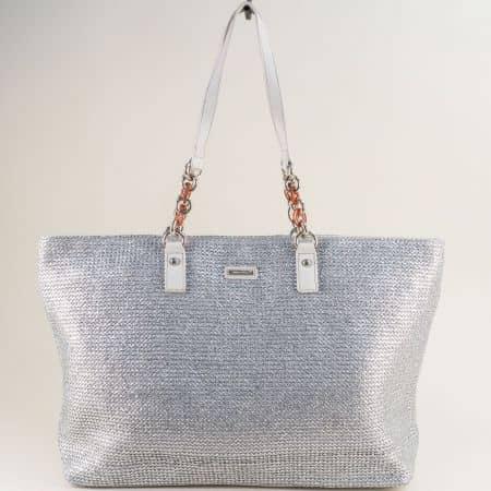Сива дамска чанта с променяща се форма- DAVID JONES cm5683asv