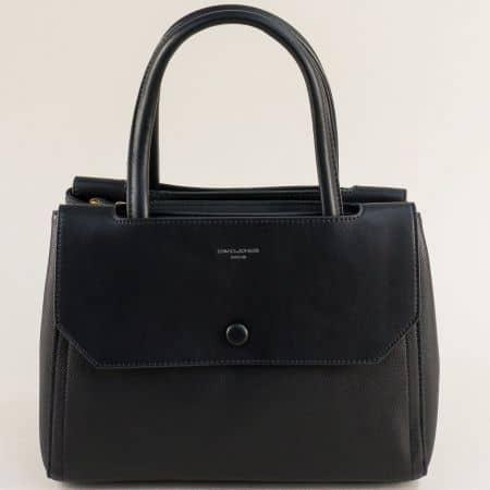 Дамска чанта с три прегради в черно- DAVID JONES cm5690ch