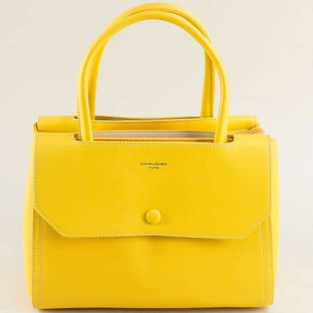 Дамска чанта в жълто с три прегради- DAVID JONES cm5690j