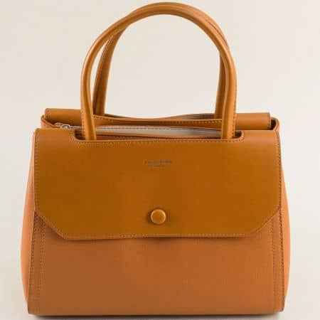 Дамска чанта с три прегради в кафяво- DAVID JONES cm5690k