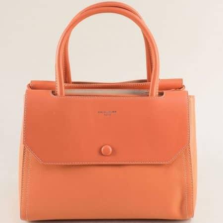 Дамска чанта с три прегради в цвят корал- DAVID JONES cm5690o