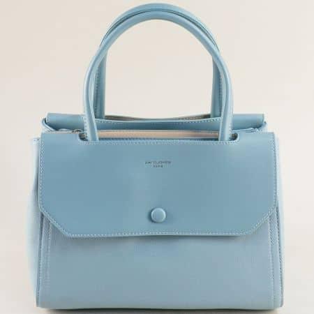 Дамска чанта с три прегради в светло синьо- DAVID JONES cm5690s