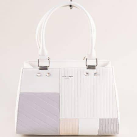 Дамска чанта- DAVID JONES в бежово, бяло и сиво cm5698b