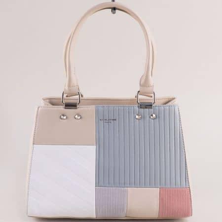 Дамска чанта в бежово, бяло, розово, сиво и синьо cm5698bj