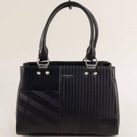 Дамска чанта в черно с твърда структура и три прегради cm5698ch