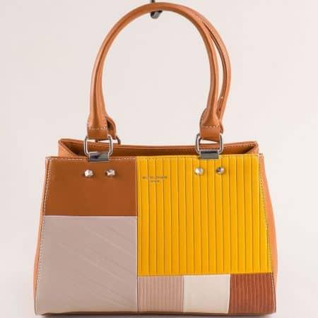 Дамска чанта в бежово, жълто и кафяво- DAVID JONES cm5698k