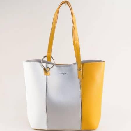 Френска дамска чанта в бяло, жълто и сребристо с органайзер cm5762sr