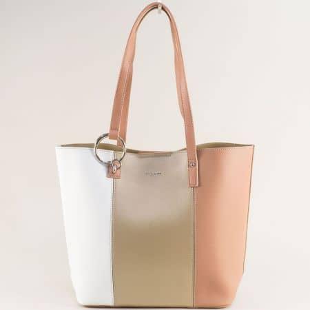 Френска дамска чанта в бяло, златисто и розово с органайзер cm5762zl
