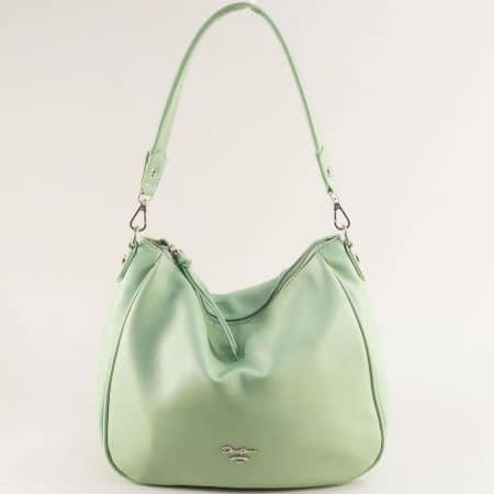 Дамска чанта, тип торба- DAVID JONES в зелено с къса и дълга дръжка cm5764z