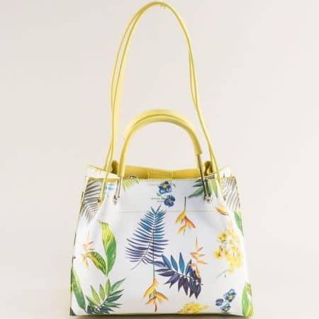 Дамска чанта в жълто с флорален принт- DAVID JONES cm5773j