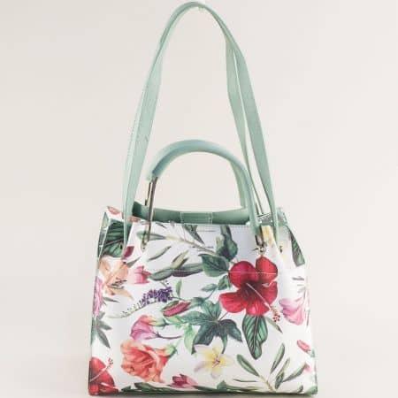 Зелена дамска чанта с флорален принт- DAVID JONES cm5773z