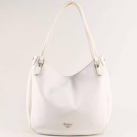 Бяла дамска чанта с две фиксирани дръжки- DAVID JONES cm5786b