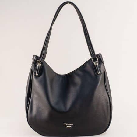 Дамска чанта в черно с две фиксирани дръжки- DAVID JONES cm5786ch