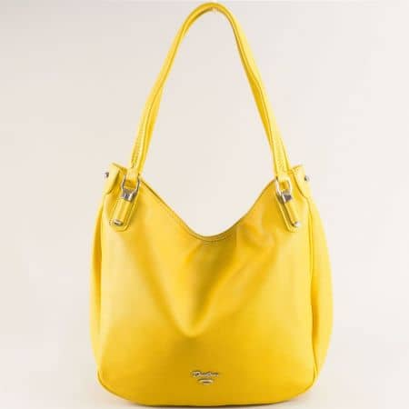 Жълта дамска чанта с две фиксирани дръжки- DAVID JONES cm5786j
