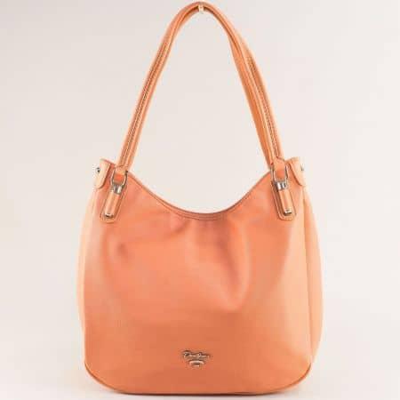 Дамска чанта в оранж- DAVID JONES с две фиксирани дръжки cm5786o