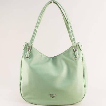 Дамска чанта в зелено с две фиксирани дръжки- DAVID JONES cm5786z