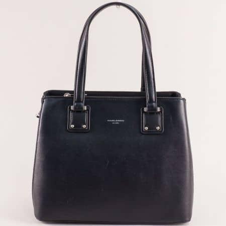 Дамска чанта в черен цвят с твърда структура- DAVID JONES cm5787ch